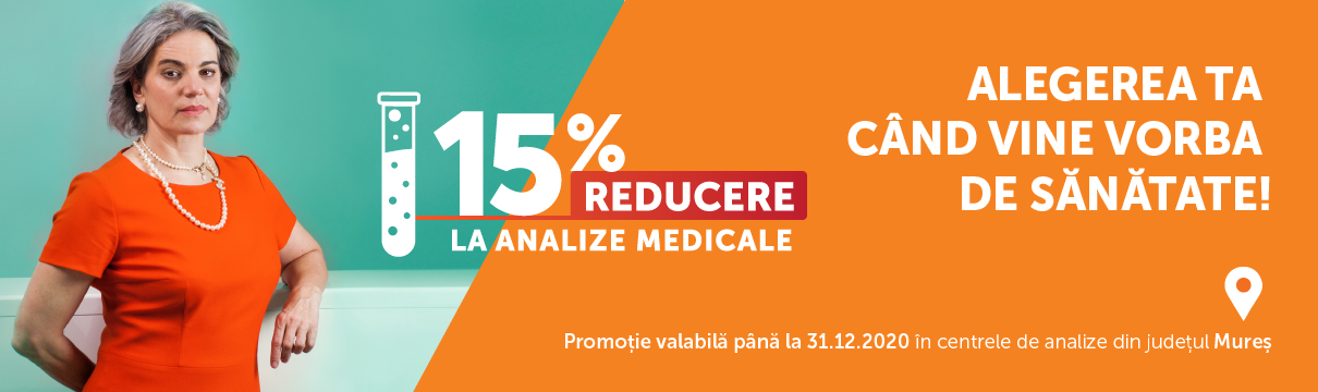 15% Reducere la analize medicale in centrele Clinica Sante din județul Mureș